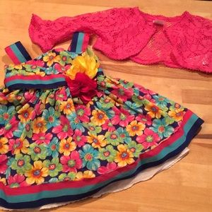 Toddler floral dress, bright colors!